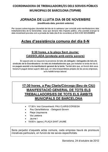 Jornada de Lluita Dia 8 novembre 2012 treballadors municipals BCN