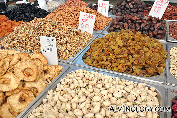 Pistachio, other nuts, dried prunes and such