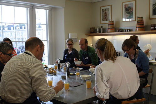 "our first lunch! Roasted Swede Soup & Sesame ""rundstykker"" rolls"