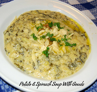 potato and spinach soup with gouda