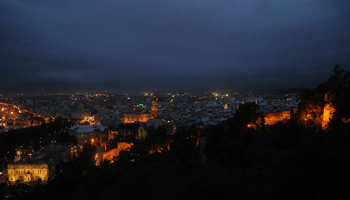 Malaga cathedral and fortifications at night, from Gibralfaro