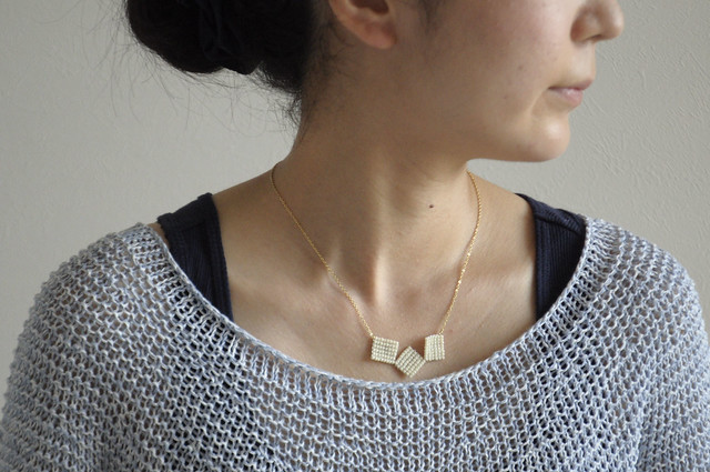 white square necklace