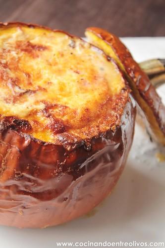 Calabaza rellana de bacon y cuatro quesos