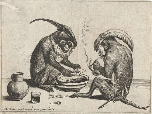 Twee apen roken pijp, Quirin Boel, 1635 by peacay
