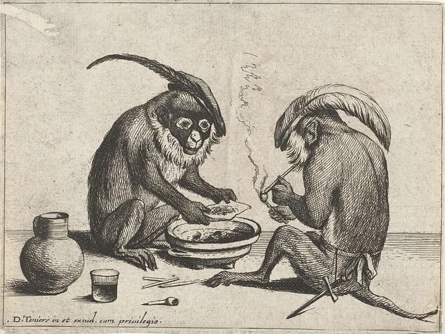 Twee apen roken pijp, Quirin Boel, 1635