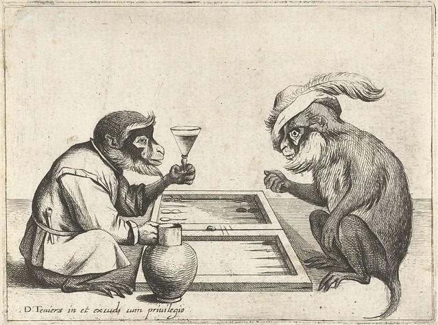 Twee apen spelen triktrak, Quirin Boel, 1635