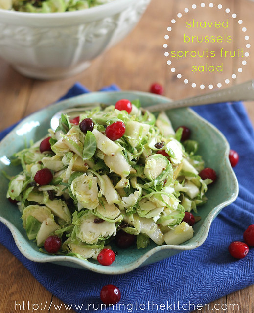 Shaved brussels sprouts and fruit salad
