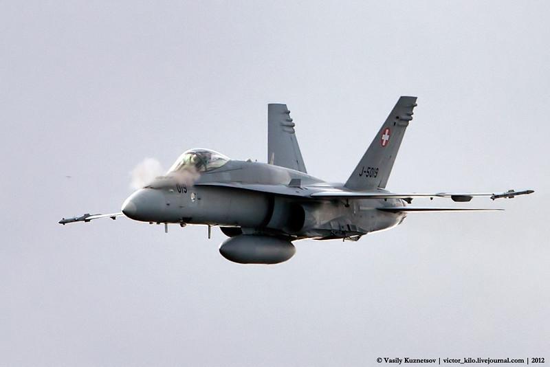 Swiss AF McDonnell Douglas F/A-18C firing on target at Axalp