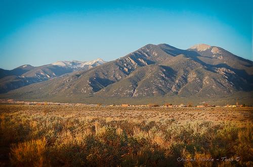 sunset mountain high shadows valley taos plains