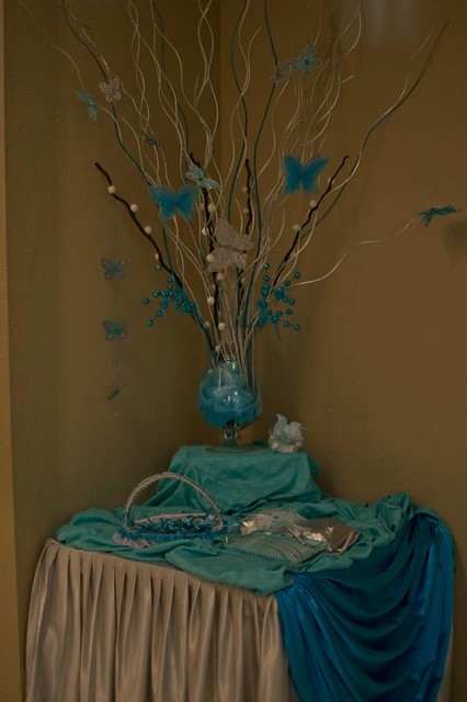 Quinceanera reception houston texas butterflies turquoise
