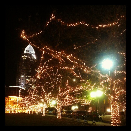 All the holiday lights are on at Lylte Park @DowntownCincy! #SoPretty!
