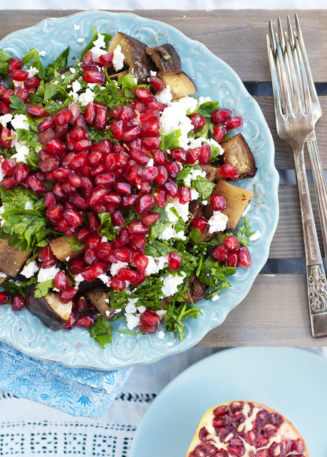 roasted aubergines pomegranate salad
