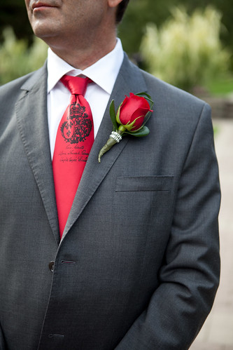 Groom`s custom tie  - it has a guillotine on the other side!