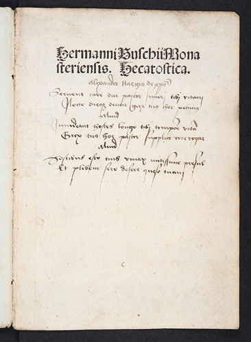 Annotated title-page of Buschius, Hermannus: In Frederici episcopi Traiectensis inthronizationem hecatosticha