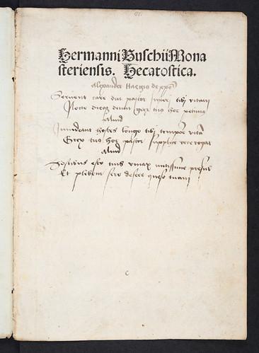Annotated title-page of Buschius, Hermannus: In Frederici episcopi Traiectensis inthronizationem hecatosticha
