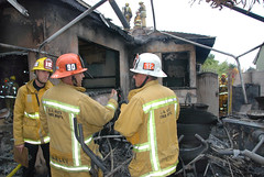 Three Firefighters Injured Battling Arleta Blaze. © Photo by Mike Meadows. Click to view more...