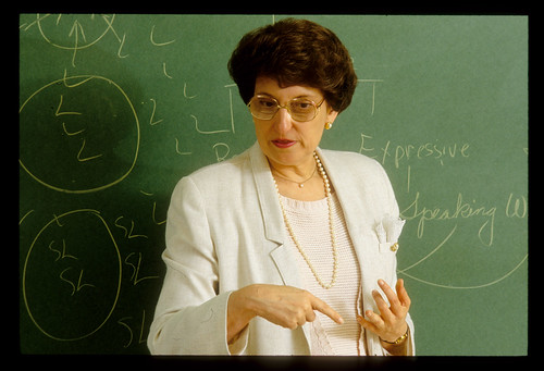 Weddle, Alice teaching in classroom  '91
