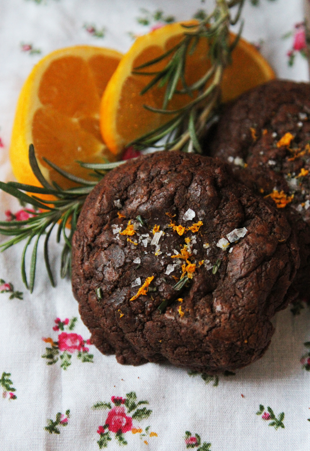 molten chocolate cookies with sea salt, rosemary, and orange zest