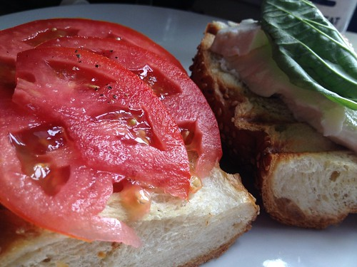 Tomatoes and basil from CSA. Bread from Caputos.