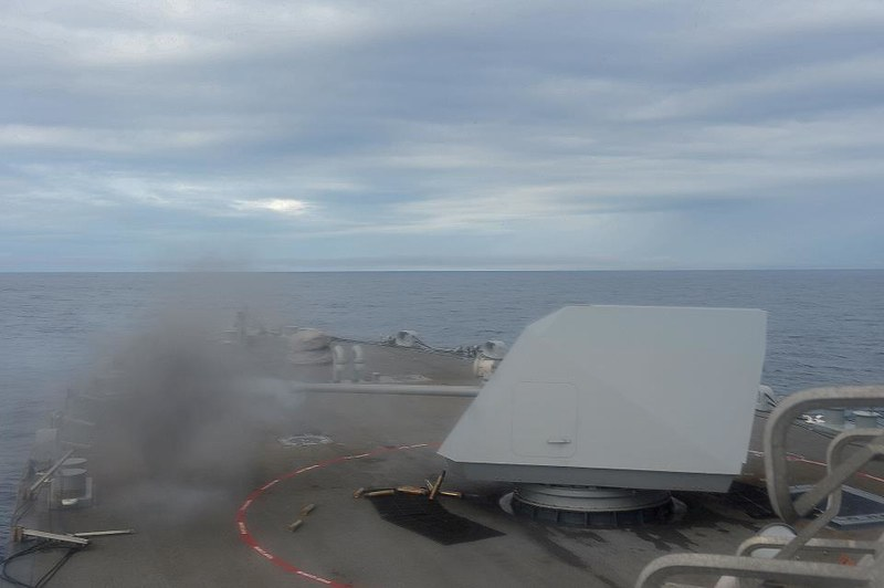 57mm gun fires upon a target during training