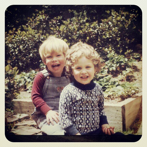 Me & my cousin Mike, after getting caught raiding the strawberry patch. Circa 1978 (ish).