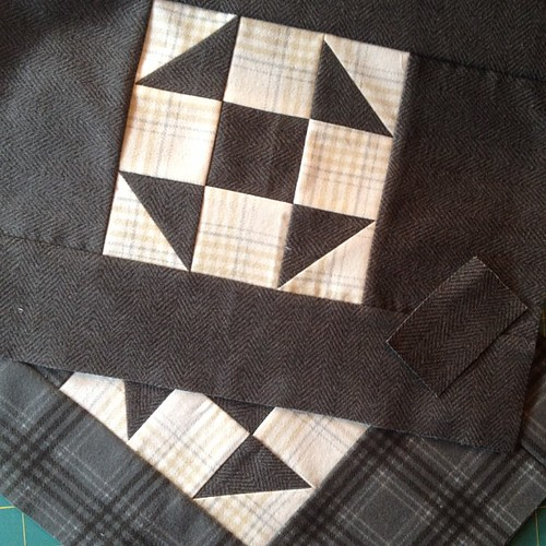 2 flannel pouches cut out and waiting for zip delivery so they can be sewn together. (Flannel from @quiltmehappy )
