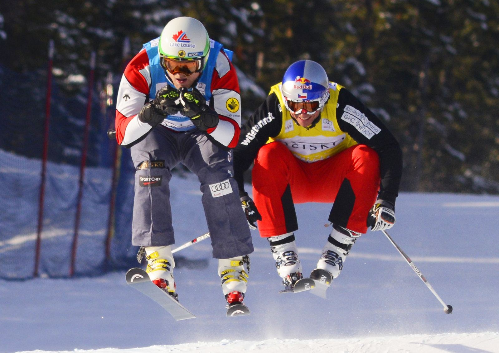 Brady Leman on his way to a sixth-place finish at the Nakiska ski cross World Cup.