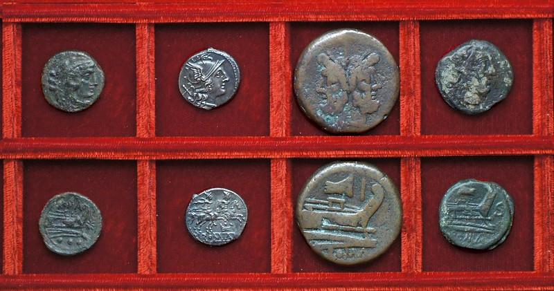 RRC 113R star quadrans official issue (not RRC 196), RRC 114 rostrum tridens denarius, bronzes, Ahala collection, coins of the Roman Republic