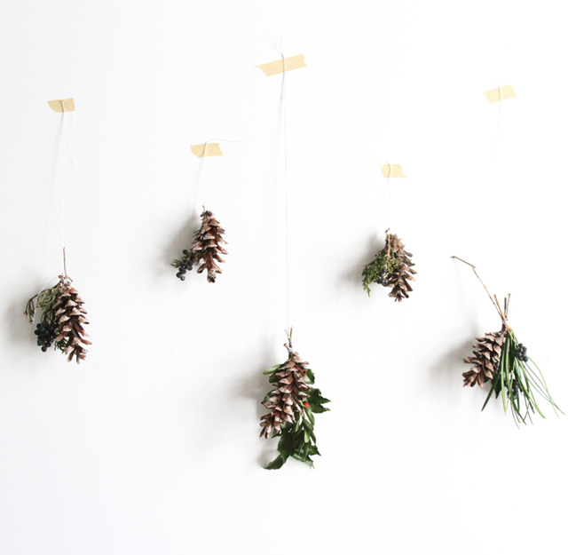 tiny apartment pinecone swags
