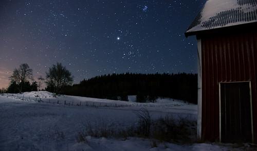 trees sky snow cold field silhouette night barn stars landscape sweden freezing swedish astronomy västra götaland sjuhärad