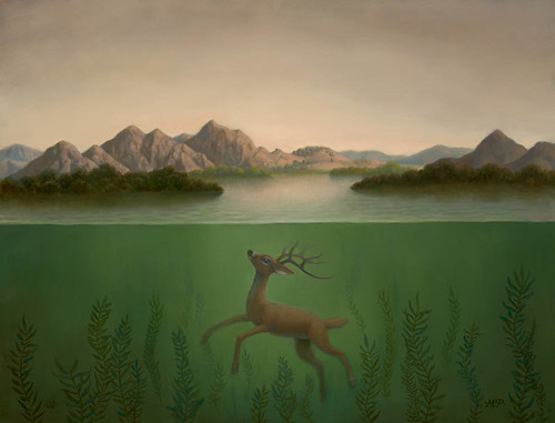 Marion Peck, Landscape with a Submerged Deer, Oil on canavs, 2008