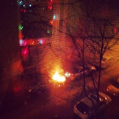I bring the excitement. First, my friend gets a flat. Then, this car fire starts right as I walk by.