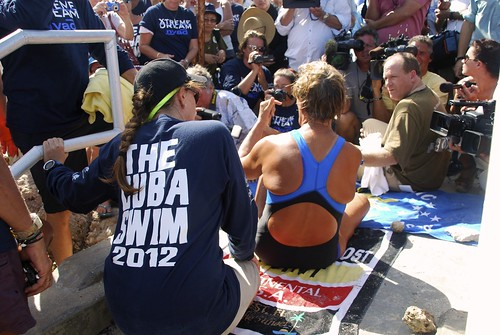 <p>University of Hawaii at Manoa Assistant Research Professor Angel Yanagihara during Diana Nyad's August 2012 attempt to swim from Cuba to Florida. photo by Christi Barli</p>