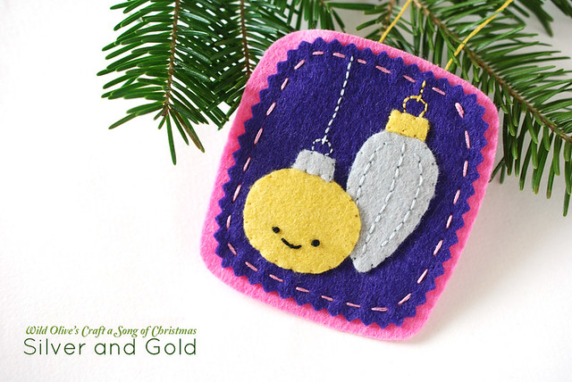 Silver and Gold Felt Ornament