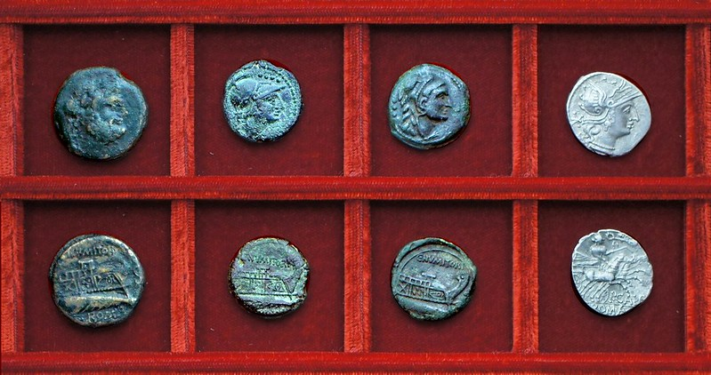 RRC 246 C.NVMITORI Numitoria bronzes, RRC 247 P.CALP Calpurnia denarius, Ahala collection, coins of the Roman Republic