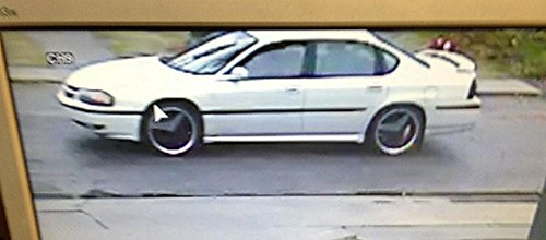 White Car peace sign hubcaps - suspect in NWC Breakins