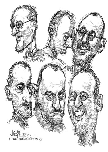 digital caricature sketch studies of Jean Reno