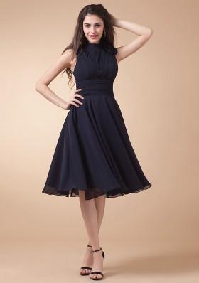 gorgeous high neck navy blue prom dress