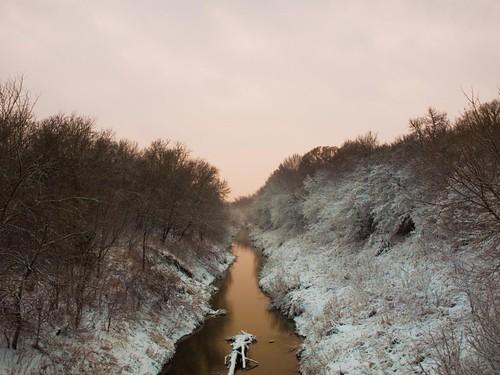 sunset sky white snow water rural river golden texas olympus commercetx huntcountytx gtowneric e620 ericwhodel southsulphurriver