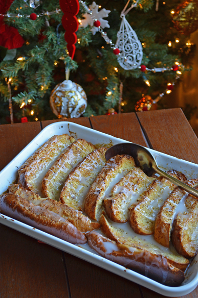 Baked Eggnog French Toast with a Bourbon Glaze