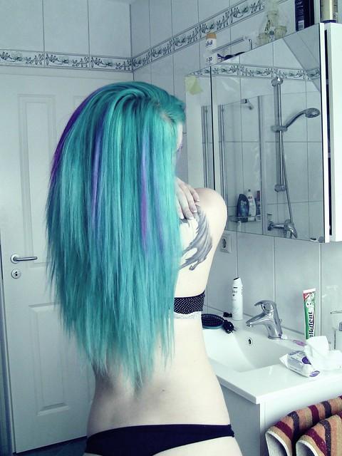 Bibi Barbaric long blue hair