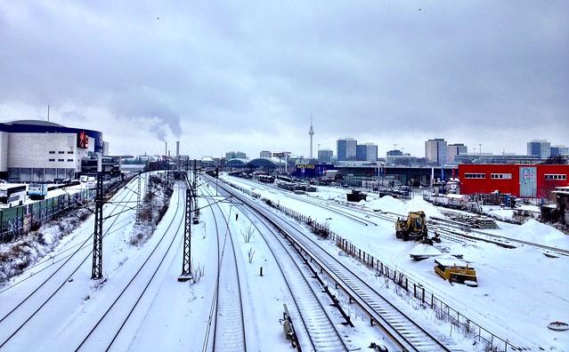 frozen train tracks