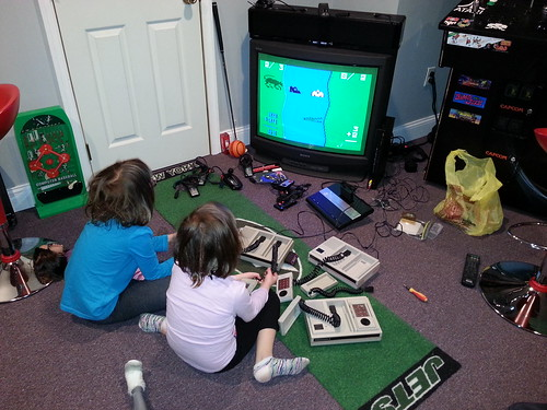 The girls playing The Electric Company Math Fun from 1979 on the Mattel Intellivision II.