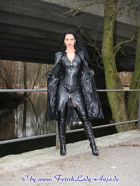 Milf in pvc coat amp leather lace up basque - 2 6