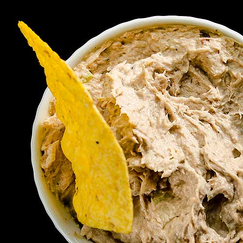 Salmon Dip and Chip in White Ramekin, Overhead View