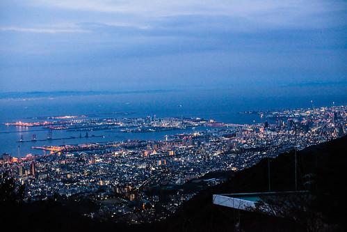 japan night lights twilight kobe