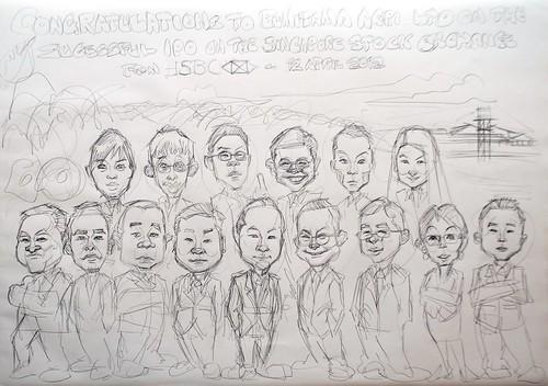 group caricatures for HSBC - Bumitama Agri (original) - pencil sketch