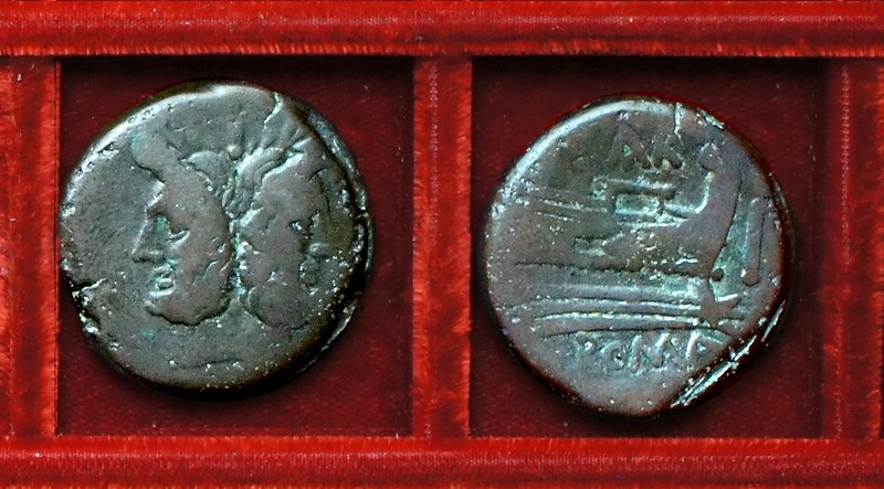 RRC 199 SAR Atilia As, Ahala collection, coins of the Roman Republic