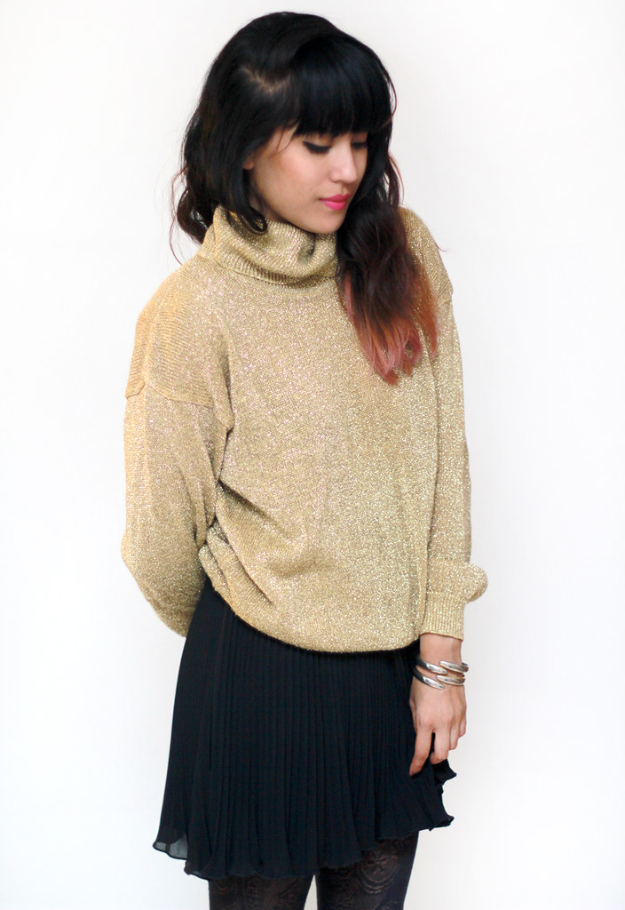 vintage metallic gold lurex turtleneck knit sweater by Tarte Vintage at shoptarte.com