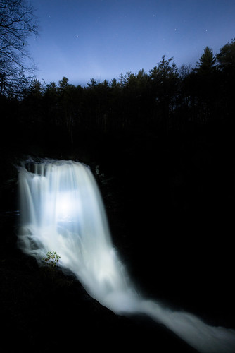 trees light sky water night stars waterfall highlands unitedstates northcarolina